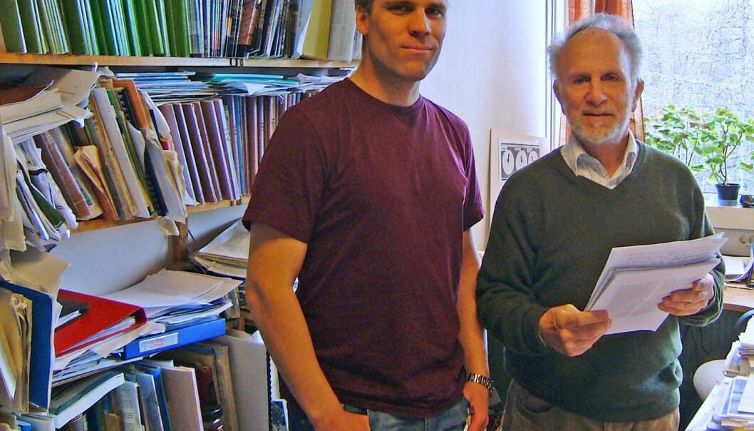 Artikkelforfatterne er Trond Slagstad (t.v.) og David Roberts. (Foto: NGU)
