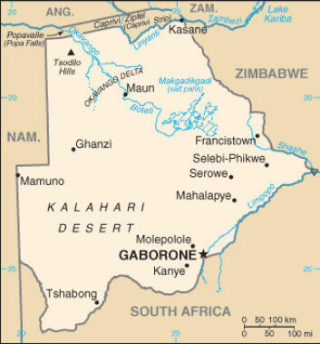 """""""Riskoen for en malaria-epidemi i Botswana øker dramatisk rett etter en periode med mye nedbør. Kart: The World Factbook."""""""