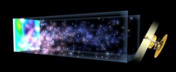 """""""NASAs WMAP-satellitt ser tilbake til etterdønningene av Big Bang, det første lyset som slapp fri i Universet 380 000 år etter det store smellet. Dette lyset har brukt over 13 milliarder år på å nå oss. I løpet av den tiden kondenserte store skyer av gass i det tidlige Universet (til venstre i bildet) til å danne de første stjernene. Så ble galakser og galaksehoper dannet i den store strukturen vi ser i dag (på høyre side). Temperaturvariasjonene som er synlige i bakgrunnsstrålingen i dag, korresponderer med frøene som vokste til galakser. (Illustrasjon: NASA/WMAP)"""""""