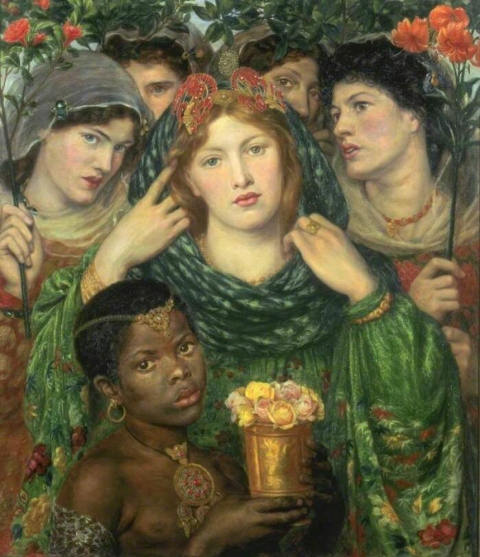 Kunstneren Dante Gabriel Rossetti (1828–1882) tilhørte det prerafaelittiske brorskapet, en engelsk kunstbevegelse fra midten av 1800-tallet som satte middelalderromantikk, sterke farger og sensualitet i høysetet. Rossetti var sterkt inspirert av Høysangen. Maleriet The Beloved (den elskede) viser Shulamit med sitt følge av «Jerusalems døtre», som også opptrer i diktet.
