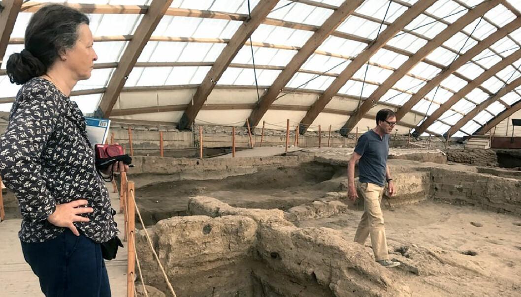 Professor Ian Hodder viser Antoinette Rast-Eicher rundt på utgravningen.