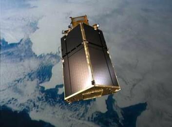 CryoSats solpaneler ligner på et mer jordnært hustak. Panelene er plassert slik for å kunne utnytte sola best mulig i banen som satellitten går i. (Illustrasjon: ESA)