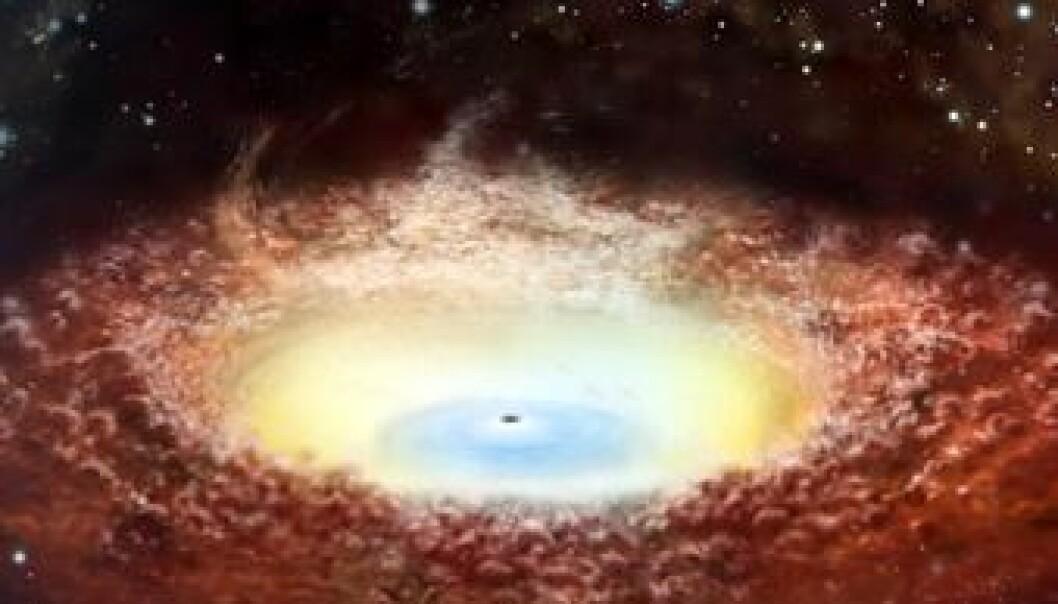 Det kjempemessige svarte hullet i kjernen til en galakse. (Illustrasjon: JAXA)