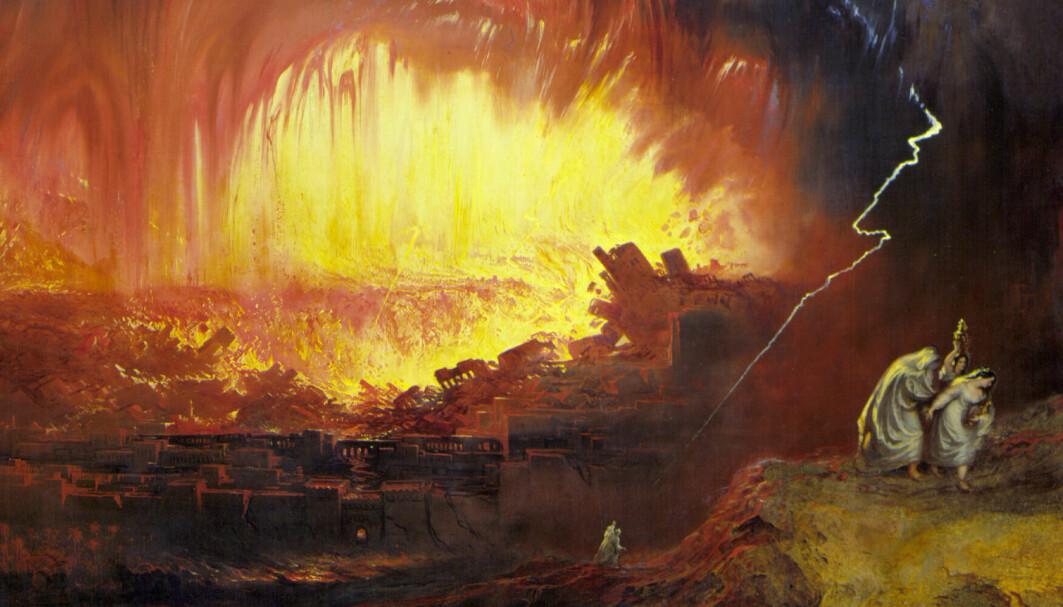 Sodoma og Gomorra var ifølge første Mosebok to førhistoriske byer ved Dødehavet som ble utslettet av Gud. Her er hendelsen malt av en kunstner.