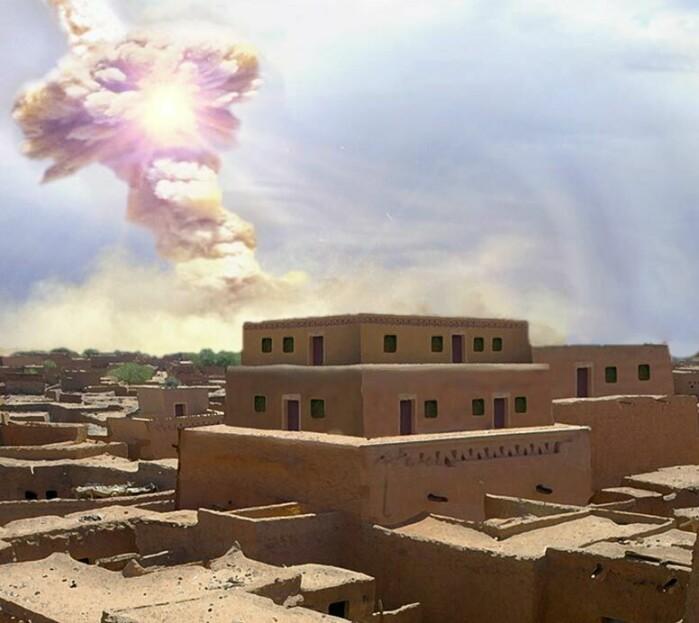 En kunstners rekonstruksjon av palasset i Tall el-Hammam da en asteroide sprengte på himmelen.