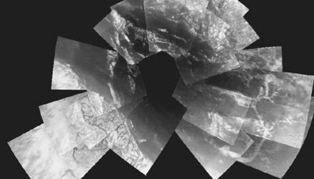 """""""For å få en oversikt over landskapet på Titan må forskerne sette sammen bilde for bilde som i et puslespill. (Foto: ESA/NASA/JPL/University of Arizona)"""""""