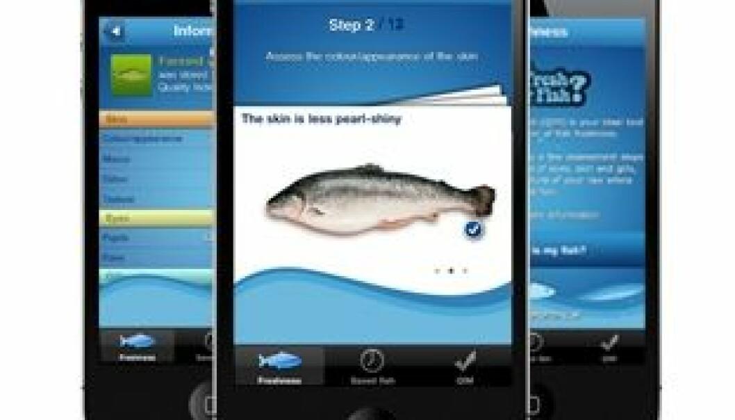 """Appen """"How fresh is my fish?"""" finnes på 11 språk, deriblant norsk."""