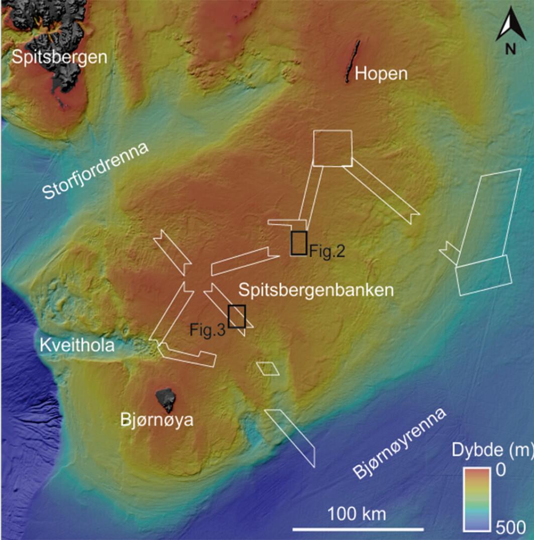 Figur 1: Oversikt over kartleggingsområdene på Spitsbergenbanken. Hvite bokser viser kartleggingsområdene for årets tredje Mareano-tokt og samtidig hvor figur 2 og 3 er hentet fra.