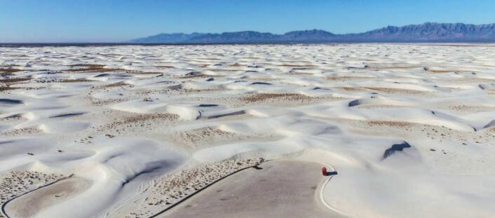 Dette er White Sands-nasjonalparken i New Mexico. Navnet er ikke så overraskende.