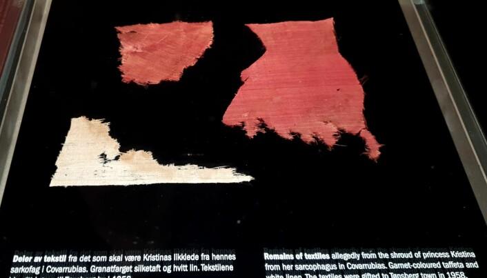 Tekstiler på Slottsfjellmuseet gitt i gave fra Covarrubsias, som angivelig skal være fra prinsesse Kristinas grav.