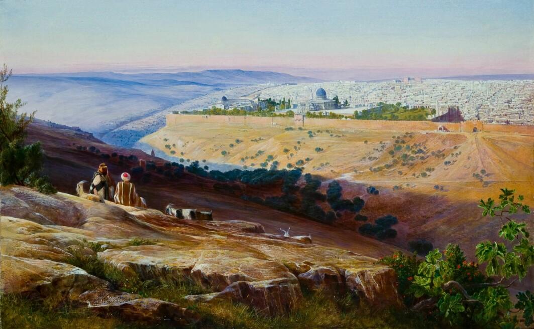 Landskapet spiller en viktig rolle i skandinaviske kristnes forestillinger om Jerusalem. Her utsikten mot Jerusalem fra Oljeberget.