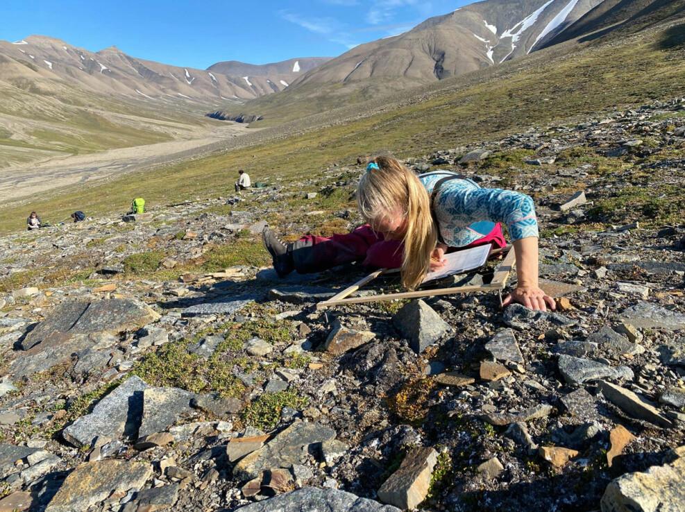 Stipendiat Mie Prik Arnberg gjennomfører rutekartlegging av vegetasjonen på eit kontrollplot i Mälardalen.