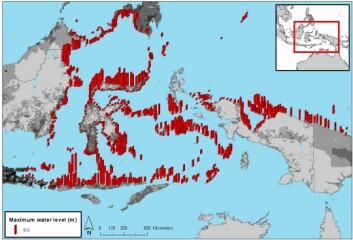 Kartet viser oppskyllingshøydene som i verste fall kan tenkes å ramme regionen som omfatter østkysten av Borneo, den østlige delen av Java, Sulawesi og den vestlige delen av Ny-Guinea i tilfelle av et kraftig jordskjelv som utløser en tsunami. Gråtonene angir befolkningstettheten.