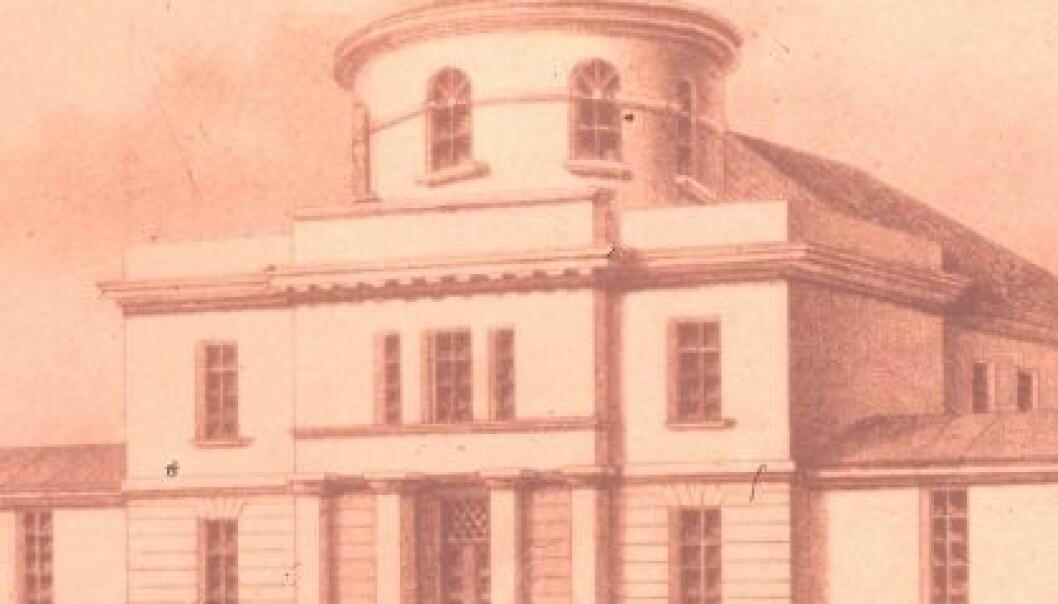 Observatoriet på Solli plass ble innviet for 175 år siden. Tegning av arkitekt Grosch.