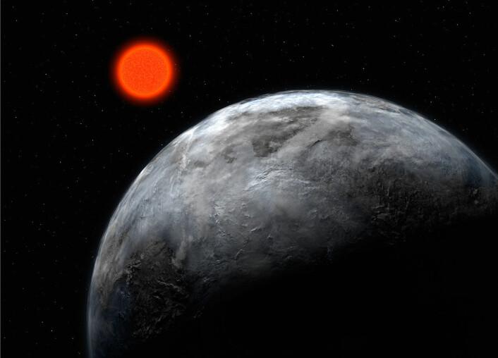 Eksoplaneten Gliese 581 d. Funnet av La Silla-observatoriets superjeger, HARPS, i 2007. Nå har HARPS fått installert verdens beste polarimeter, noe som skal hjelpe med å finne flere. (Illustrasjon: ESO)