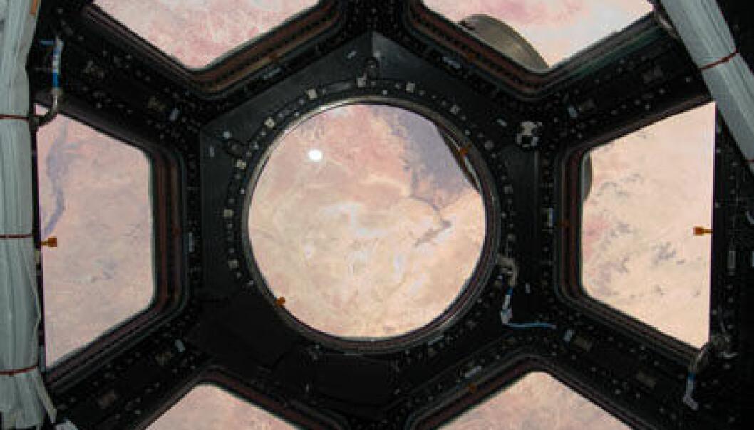 Det første bildet som ble tatt gjennom de nye vinduene på romstasjonen. Vi ser Sahara. Fra kuppelen skal mannskapet på kunne styre romstasjonens robotarmer eller følge med på aktivitet som foregår utenfor. (Foto: NASA