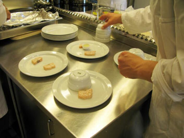 11 sensoriske dommere fikk først smake kun på laks, deretter kun på saus og så kombinasjonen av saus og laks.