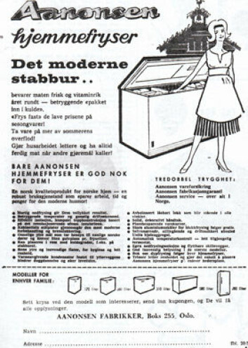 Fryseboksprodusenten Aanonsen koblet i annonser moderne hjemmefrysere til stabbur og norsk selvbergingstradisjon. Annonse fra magasinet Alt om kaldt, som ble utgitt på 1960-tallet