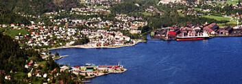 Industribyen Sauda sett fra fjorden. Åbøbyen hageby ligger midt i bildet ned mot fabrikken. (Foto: Geir Høiland)