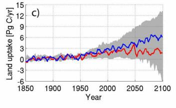 Simulert karbonopptak over landjorda, blå linje uten klimaendringer, rød linje med.
