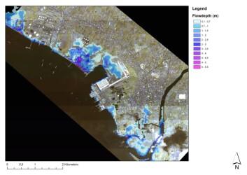 Oversvømmelseskart for Batangas, Filippinene for en tsunami generert av et magnitude 8.2 jordskjelv i kombinasjon med høyvann. Kartet viser maksimal strømningsdybde. (Illustrasjon: NGI)