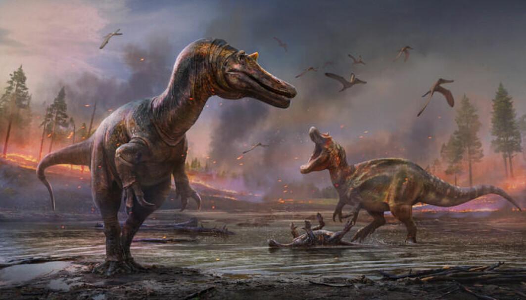 Her har en kunstner tegnet dinosaurene. Den fremste har fått navnet Ceratosuchops inferodios og den bakerste Riparovenator milnerae.
