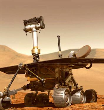 """""""Modell av en Mars Exploration Rover av samme typen som Spirit og Opportunity. Kjøretøyet er utstyrt med blant annet flere kameraer, børste- og slipeverktøy og mikroskop."""""""