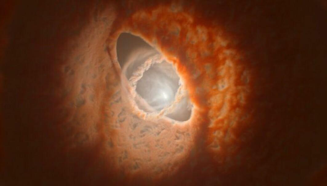 Stjernene i stjernesystemet GW Orionis er omgitt av en protoplanetarisk skive som kanskje skjuler en planet.