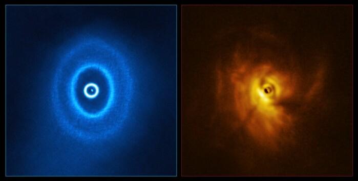 Disse tidligere bildene av GW Orionis, tatt med teleskoper, viser at skiven rundt stjernene er delt opp i ringer og deformert.