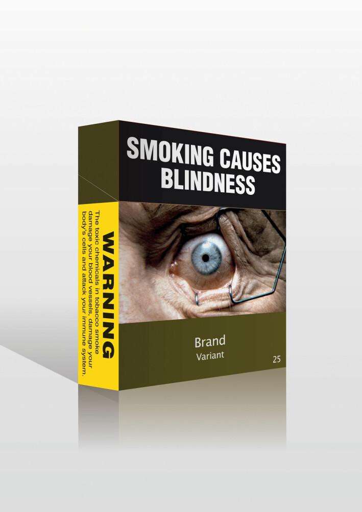 Flere land har større advarsler på sigarettpakningene enn vi har i Norge. Slik ser sigarettpakkene ut i Australia.