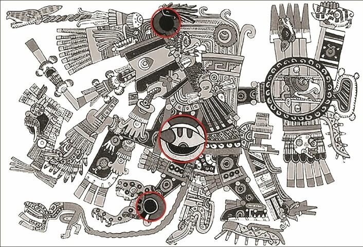 En aztekisk framstilling av Tezcatlipoca. De røde ringene viser detaljer som kan forestille obsidian-speil.