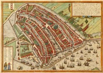 Kart over Amsterdam fra 1500-tallet.