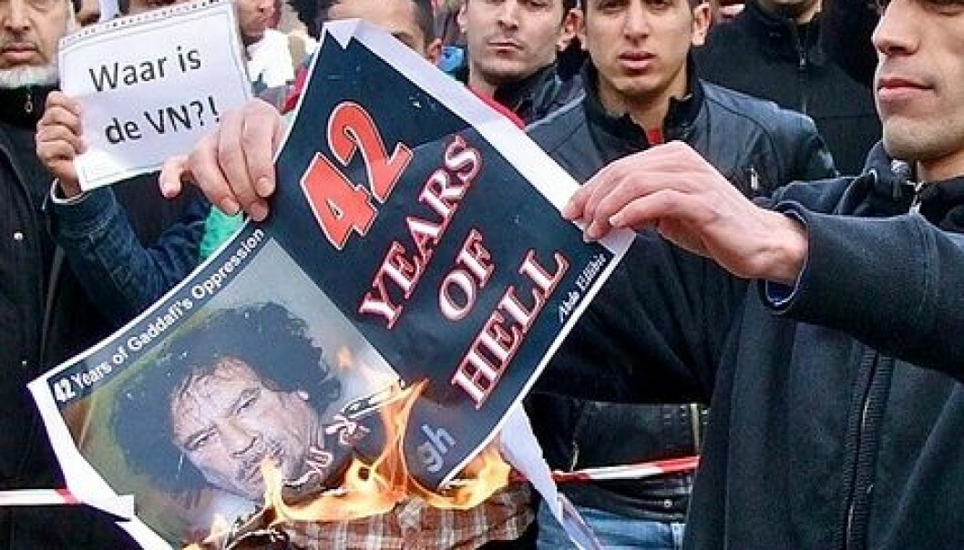 Demonstrasjoner mot Muammar Gaddafi i Haag i Nederland (Foto: Roel Wijnants/Flickr Creative Commons)