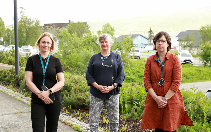 From left: E-health Research's coordinator for the WHO collaboration Lene Lundberg, professor and MD Gro Berntsen and senior adviser Karianne F. Lind.