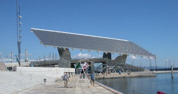"""""""Solcelle-arkitektur: Dette anlegget vann ein arkitektkonkurranse og ligg på havna i Barcelona. (Foto: Majbrit Hirche)"""""""