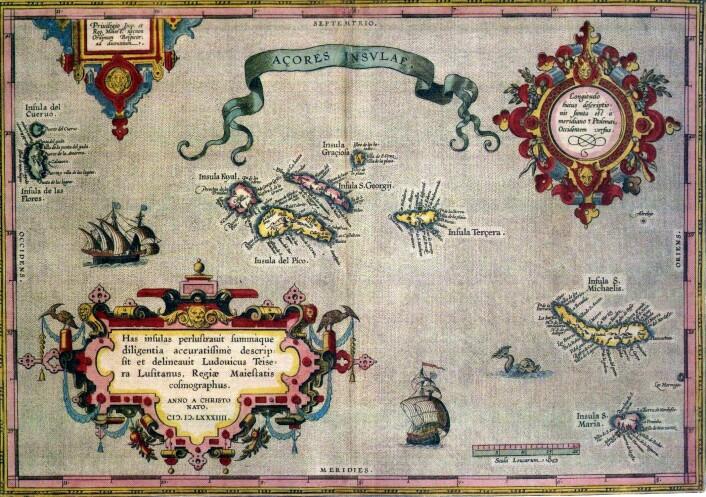 Sjøkart fra 1500-tallet som viser Azorene.