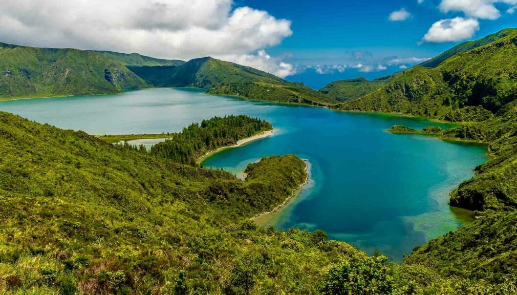 Dette er fogo-innsjøen på øya Sao Miguel, den største av Azorene.
