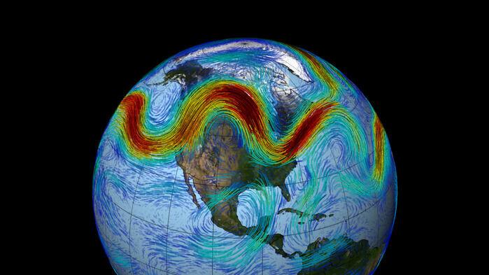 Den polare jetstrømmen bukter seg i atmosfæren på den nordlige halvkule.