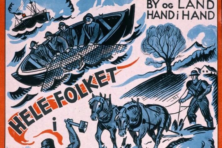 Arbeiderpartiets kjente slagord om «By og land, hand i hand» er fra Stortingsvalget i 1933.