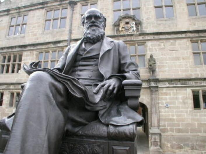 """""""En statue av Charles Robert Darwin utenfor hans tidligere skole, som i dag er Shrewsbury Library i Shropshire vest i England. (Illustrasjonsfoto: iStockphoto)"""""""