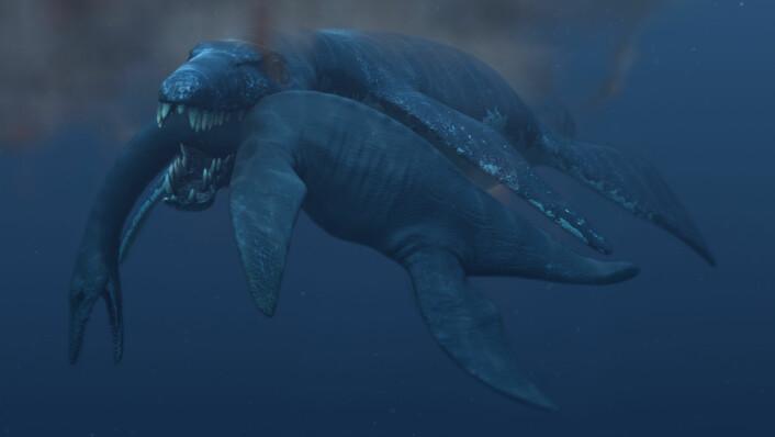En 45 tonn tung pliosaur angriper en plesiosaur (Illustrasjon: Atlantic Productions)