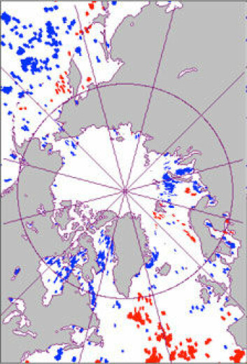 Kartet viser havområder med tidligere algeblomstring (markert med blått) og områder med seinere blomstring (rødt) basert på satelittobservasjoner 1997-2010. (Illustrasjon: Scripps Institution of Oceanography, UC San Diego)