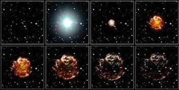 """""""Slik kan Cassiopeia A ha utviklet seg siden 1660-tallet. Illustrasjon: NASA, ESA, og Hubble Heritage (STScI/AURA)-ESA/Hubble Collaboration. Konsulenter: Robert A. Fesen (Dartmouth College, USA) og James Long (ESA/Hubble)"""""""