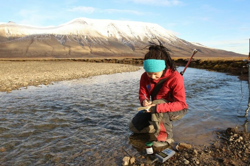 Meltwater sampling a at the end of the ablation season.