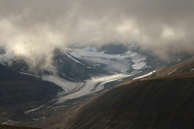 Retreating glaciers: What's left of Scott Turnerbreen at the end of Bolterdalen.