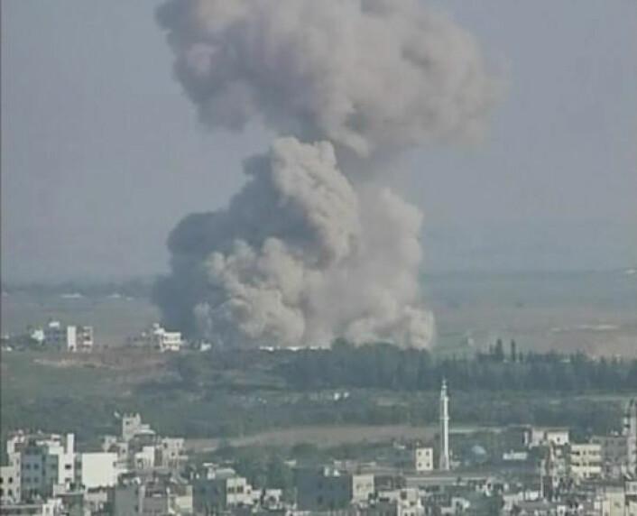 Røyk fra et boligområde i Gaza etter et Israelsk angrep i januar 2009, under Gaza-krigen. (Foto: Al Jazeera/Wikimedia Commons)