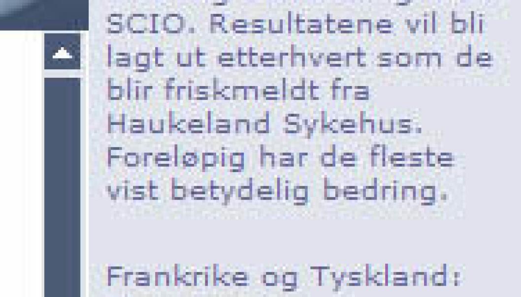"""""""Utsnitt av nettsida til SCIO Norge."""""""