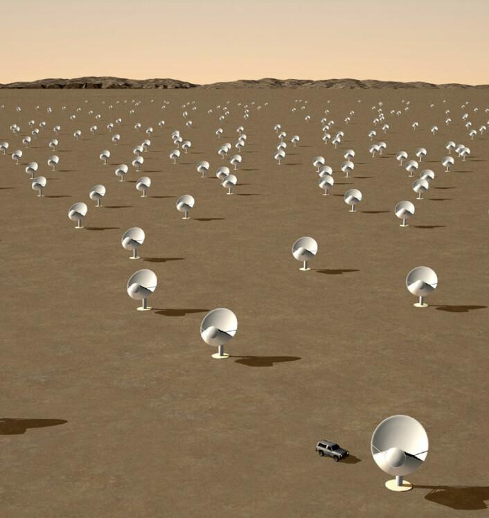 Illustrasjon av de sentrale skålantennene i det framtidige SKA-teleskopet. (Illustrasjon: XILOSTUDIOS/SPDO, Creative Commons Attribution-Share Alike 3.0 Unported)