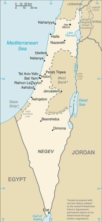 Dette kartet over Israel, Vestbredden og Gaza er hentet fra CIAs World Factbook. (Kart: CIA)