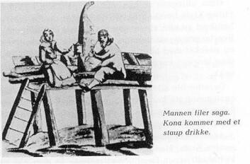 Tegningen viser en såkalt oppgangssag som var i bruk i Siljan i Telemark allerede i 1528. Mannen filer saga og kona kommer med et staup drikke. Tegningen er hentet fra Asbjørn Bakkens bok Siljan. Gårdene, slektene, trekk fra bygdelivet (1969).